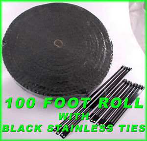 Black Thick Exhaust Wrap Header Pipe Tape Kit 1 8 X 2 X 100 Ft Black Lock Ties