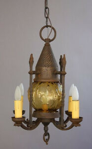 1920s Spanish Revival Chandelier Pendant Light Antique English Tudor 7062