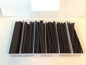 170 Pcs Pro kit 4 Black Polyolefin 2 1 Heat Shrink Tubing 1 16 To 3 8 Sizes