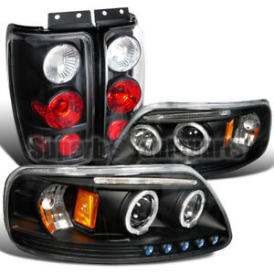 1997 2002 Ford Expedition Halo Led Headlights Tail Brake Lamps Black