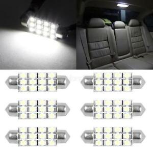 6x Led 12smd Courtesy Interior Light Bulb Festoon Dome Lamp 42mm 6000k White