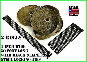 Titanium Lava Exhaust Header Pipe Heat Wrap 2 Rolls 1 x50 Black Stainless Ties