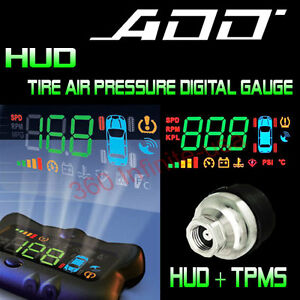 Add Hud Speed Head Up Display Wireless Tire Pressure System Add On Sensor