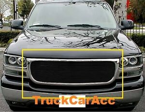 For Gmc Yukon 2000 2006 Sierra 1500 1999 2000 01 2002 1pc Black Grille Overlay