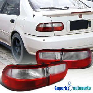 For 1992 1995 Honda Civic 2 4dr Coupe Sedan Tail Lights Brake Lamps Red clear