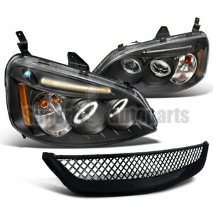 For 2001 2003 Honda Civic Led Halo Headlights Mesh Grill Hood Grille Black
