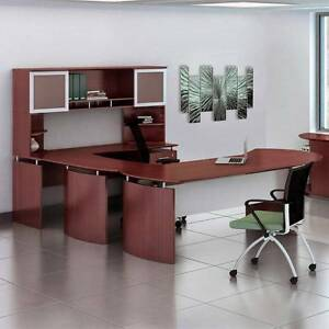 Laminate Executive 72 Desk U shaped Package Right Mahogany Finish