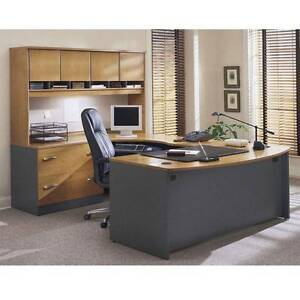 Executive Bow Front U shaped Desk Natural Cherry Finish