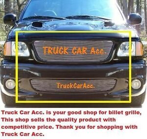 For Ford F150 Lightning 1999 2002 2003 Polished Grille 2pc Combo Replacements