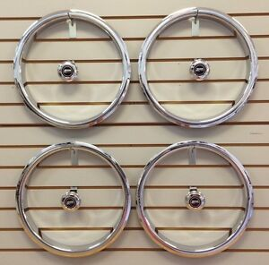 Chevy Chevelle Camaro Z28 5 Spoke Wheel Chrome Trim Rings Center Caps Set