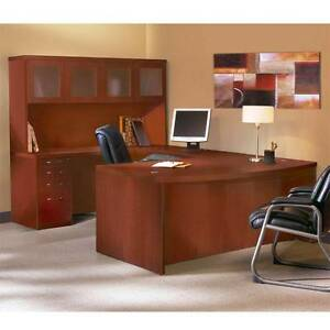 Mayline Aberdeen Executive U shaped Desk 72 W glass Door Hutch Package Cherry