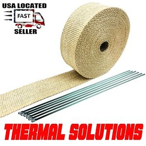 Exhaust Heat Header Wrap With Stainless Ties 1 16 X 2 X 50 Tan High Temp Pipe
