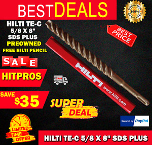 Hilti Te c 5 8 X 8 Sds Plus Preowned free Hilti Pencil l k Fast Shipping