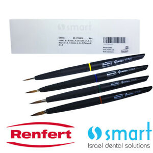 Dental Lab Natural Hair Bristle Ceramic Brush Building Up Renfert Genius Set 4pc