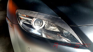 Real Carbon Fiber Style 3 Headlight Eyelids eyebrows 04 08 Mazda Rx 8 Se3p Jdm