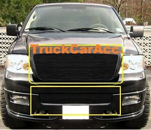 For Ford F150 2006 2007 2008 2pc Black Grille Combo Upper Replace bumper Bolt