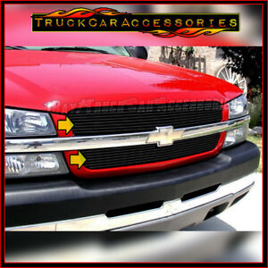 For Chevy Silverado 1500 2003 2005 2500 3500 Hd 2003 2004 Black Overlay Grille