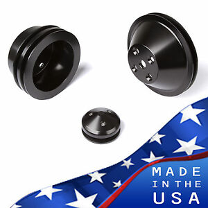 Black Billet Aluminum Small Block Chevy Pulley Kit Lwp Sbc 350 327