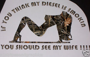 Diesel Sexy Wife Real Tree M4 Camo Window Decal Fit F250 F350 Ram Chevy Gmc