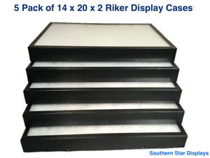 5 Pack Of Riker Display Cases 14 X 20 X 2 For Collectibles Arrowheads