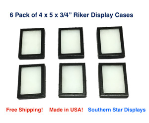 6 Pack Of 4 X 5 X 3 4 Riker Display Cases Box For Collectibles Jewelry More