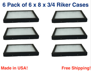 6 Pack Of 6 X 8 X 3 4 Riker Display Cases Boxes For Collectibles Jewelry