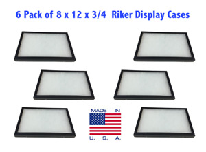 6 Pack Of Riker Display Cases 8 X 12 X 3 4 For Collectibles Jewelry