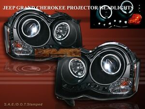 08 09 10 Jeep Grand Cherokee Dual Ccfl Halo Projector Headlights Led Black