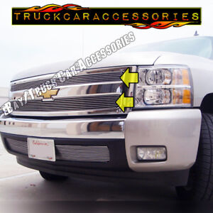 For Chevy Silverado 1500 2007 2012 2013 Polished Upper Main 2pc Overlay Grilles