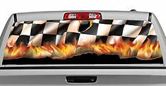 Truck Rear Window Decal Graphic flames Hot Checks 20x65in Dc90001