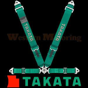 Takata Seat Belt Harness Race 4 Point Asm Green Snap On 71000us H2