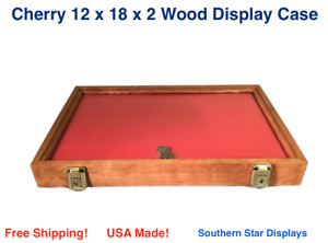 Cherry Wood Display Case 12 X 18 X 2 For Arrowheads Knifes Collectibles More