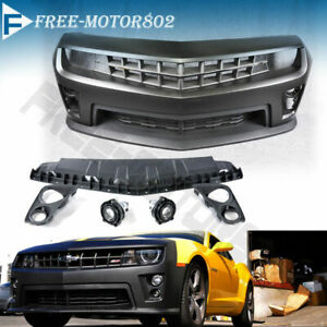 Fit 10 13 Chevolet Camaro Zl1 Conversion Front Bumper Cover Fog Light Grille Kit