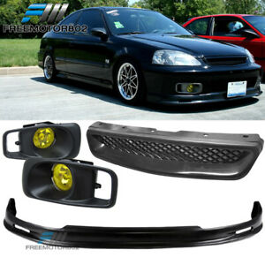 Fit 99 00 Civic Mu Front Bumper Lip Yellow Fog Light T r Hood Grille
