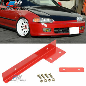 Universal Jdm Red Front Bumper License Plate Relocator Bracket Holder Bar