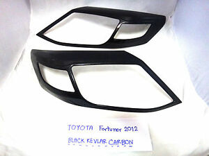 Black Carbon Headlight Lamp Cover Trim For Toyota Fortuner Suv 2012 2014