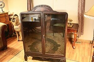 Antique 50 Tall Wooden Display Cabinet With Glass Doors Decorative Top