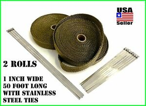 Titanium Lava Exhaust Header Pipe Heat Wrap 2 Rolls 1 x50 Stainless Ties Kit