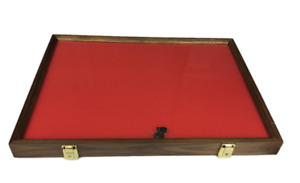 Walnut Wood Display Case 18 X 24 X 2 For Arrowheads Knives Collectibles Coins