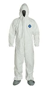 Dupont Tyvek Disposable Coverall With Hood boots Elastic Cuff Lg Case Of 25