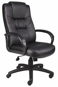 Boss Office Products Executive High Back Leather Plus Chair W Knee Tilt New