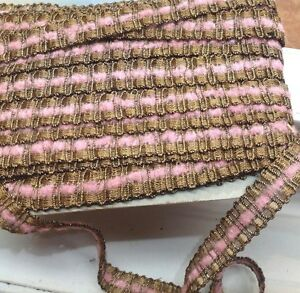 Vintage Antique French Gold Metallic Trim Pink Chenille 3 4 1yd Lampshades