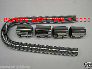 48 Stainless Radiator Hose With Chrome End Caps Universal Flexible Kit
