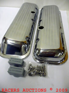 Big Block Chevy Polished Aluminum Short Valve Covers Ball Milled Top 396 424 454