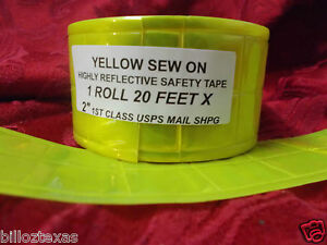 20 Sew On Reflective Safety Yellow Green Safety Tape Usa Shipper Free Shpg