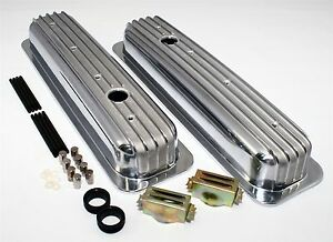 Sbc Short Chevy Aluminum Finned Retro Valve Covers Vortec Center Bolt 350 305