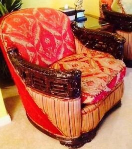 Set 3 Pieces Rare 1900 Era Italian Baroque Curved Sofa Tub Chair