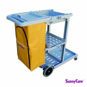 Sunnycare Gray Plastic Janitorial Cleaning Cart With 25 Gallon Bag