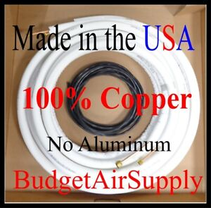 1 4 X 3 8 X 15ft 1 2 wall 100 Copper Ductless Mini Split Line Set control Wire