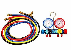 4 Way Manifold Vacuum Gauge Set R22 R134a R12 60 Hoses 1000